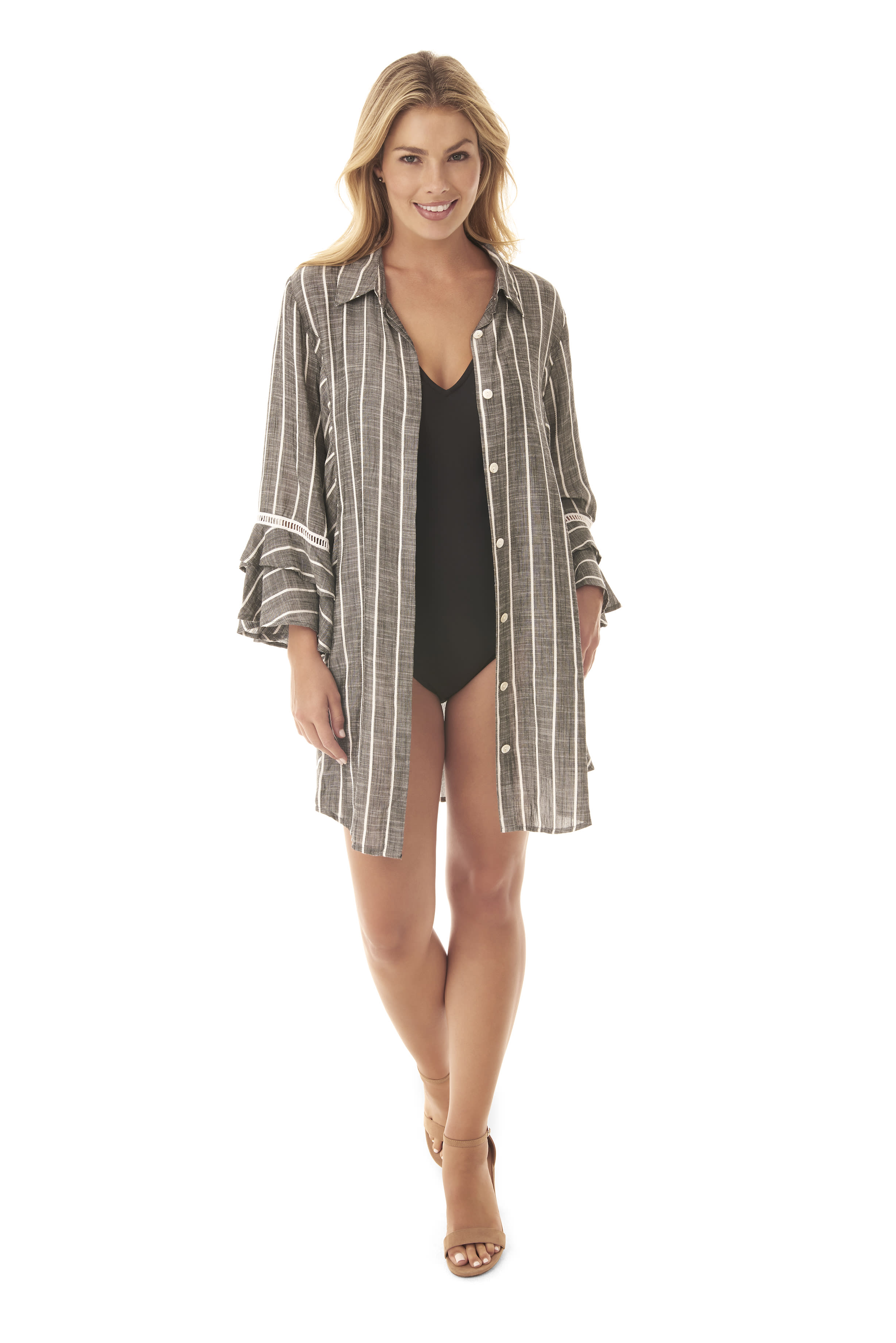 Penbrooke Ruffle Sleeve Oversize Shirt Swimsuit Cover-Up - Grey - Front