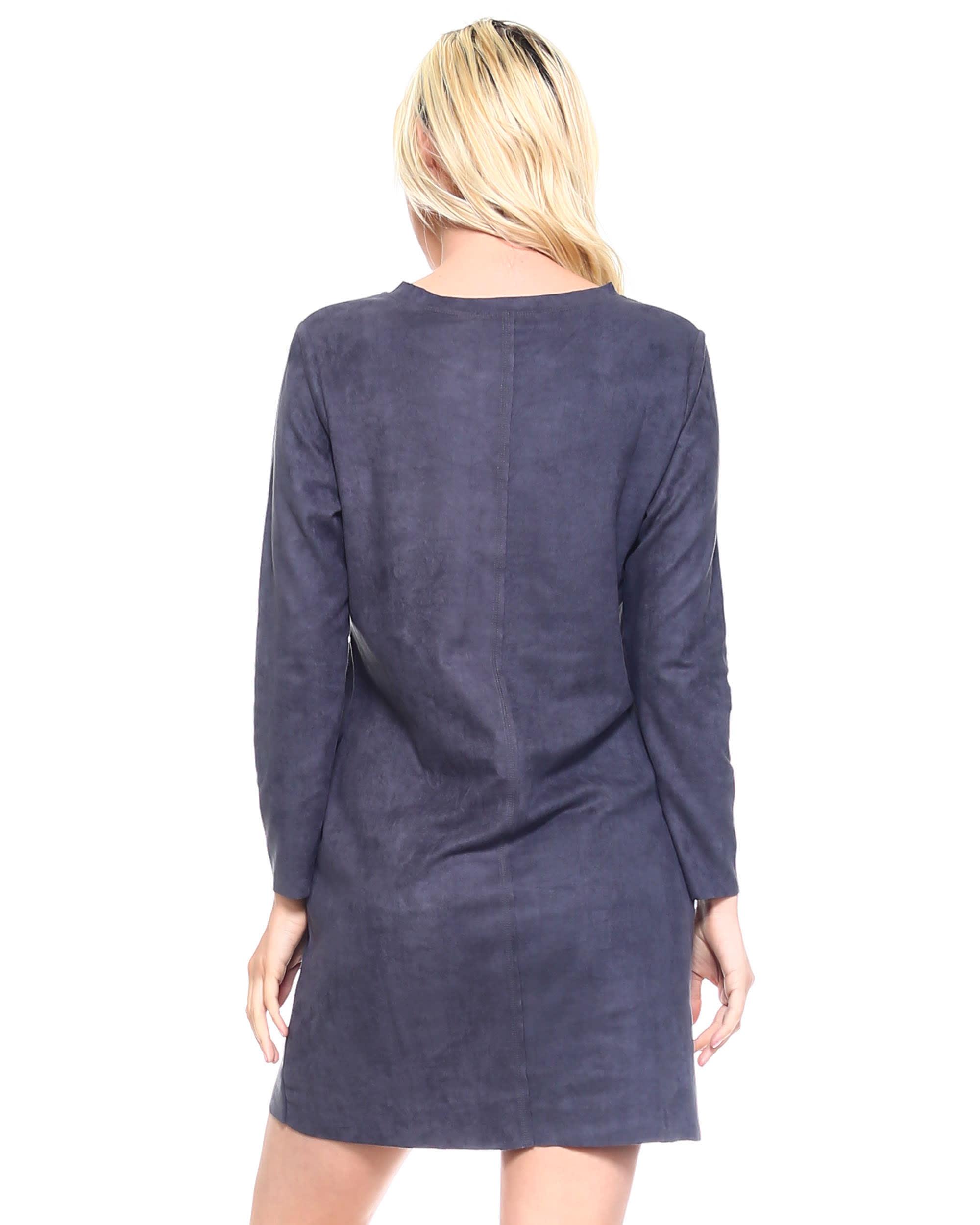 Faux Suede Aurora Dress - Charcoal - Back
