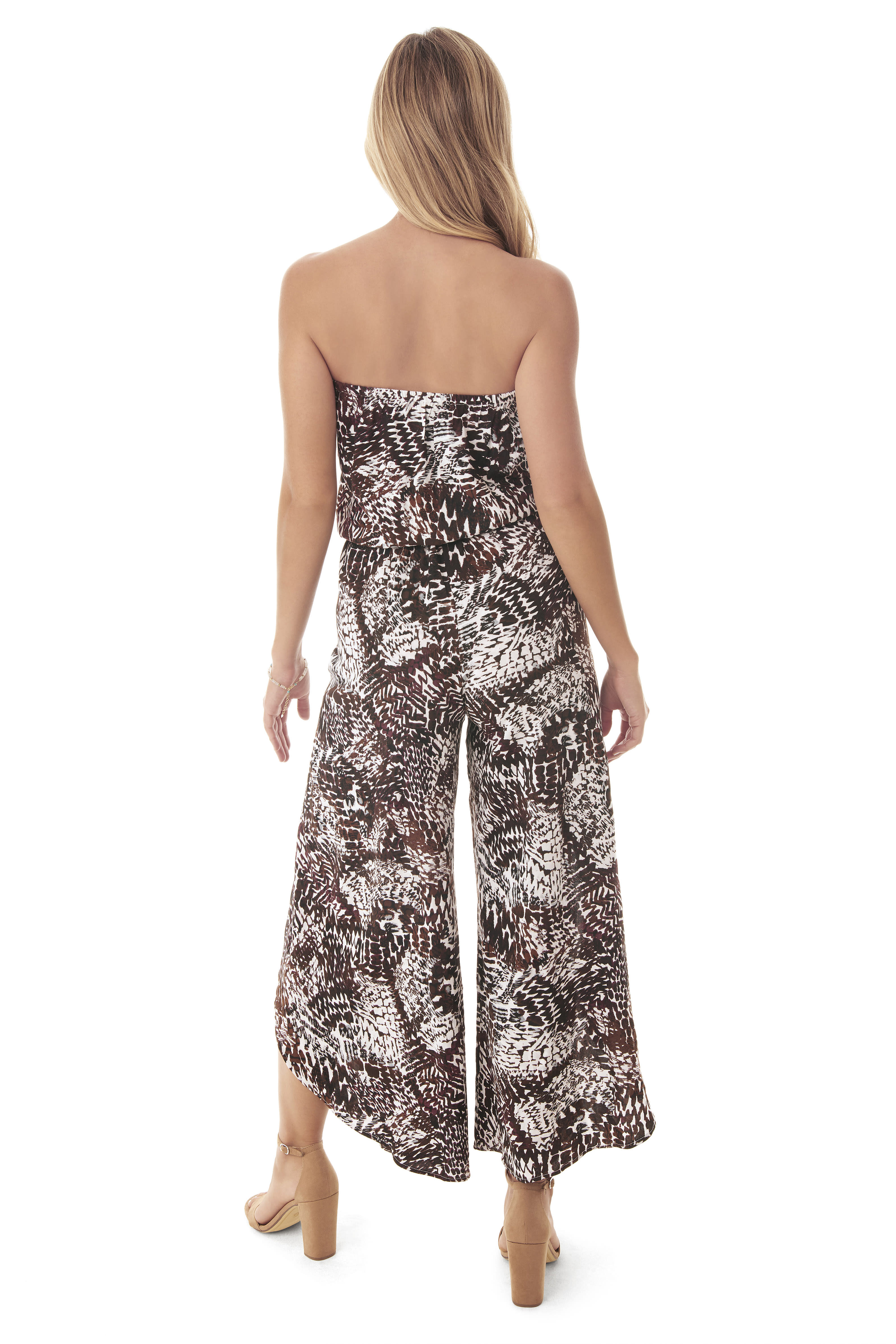 Penbrooke Bandeau Jumpsuit Swimsuit Cover-Up - Multi - Back