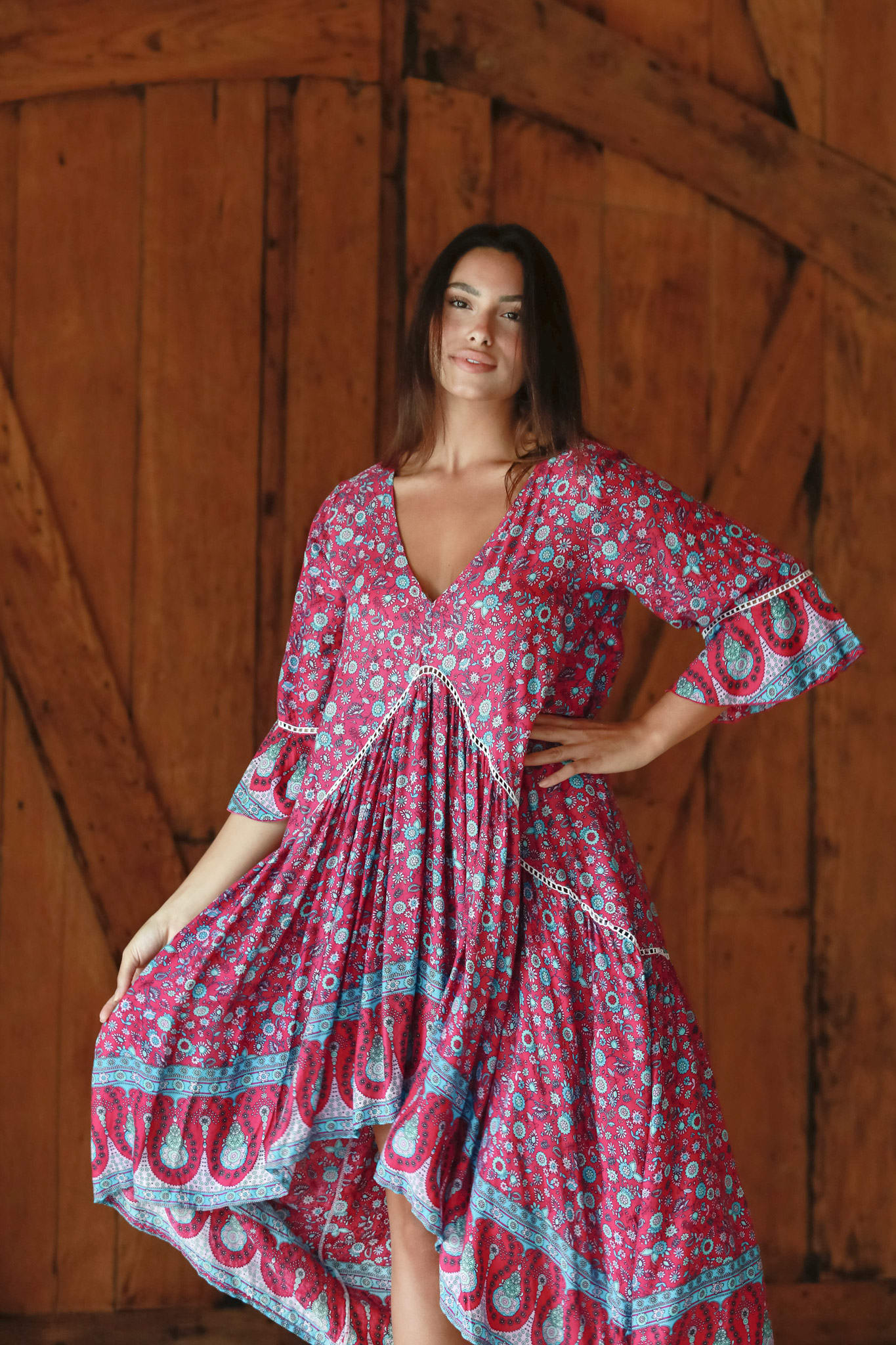 Paisley Bell Sleeve Babydoll - Pink-Teal - Front