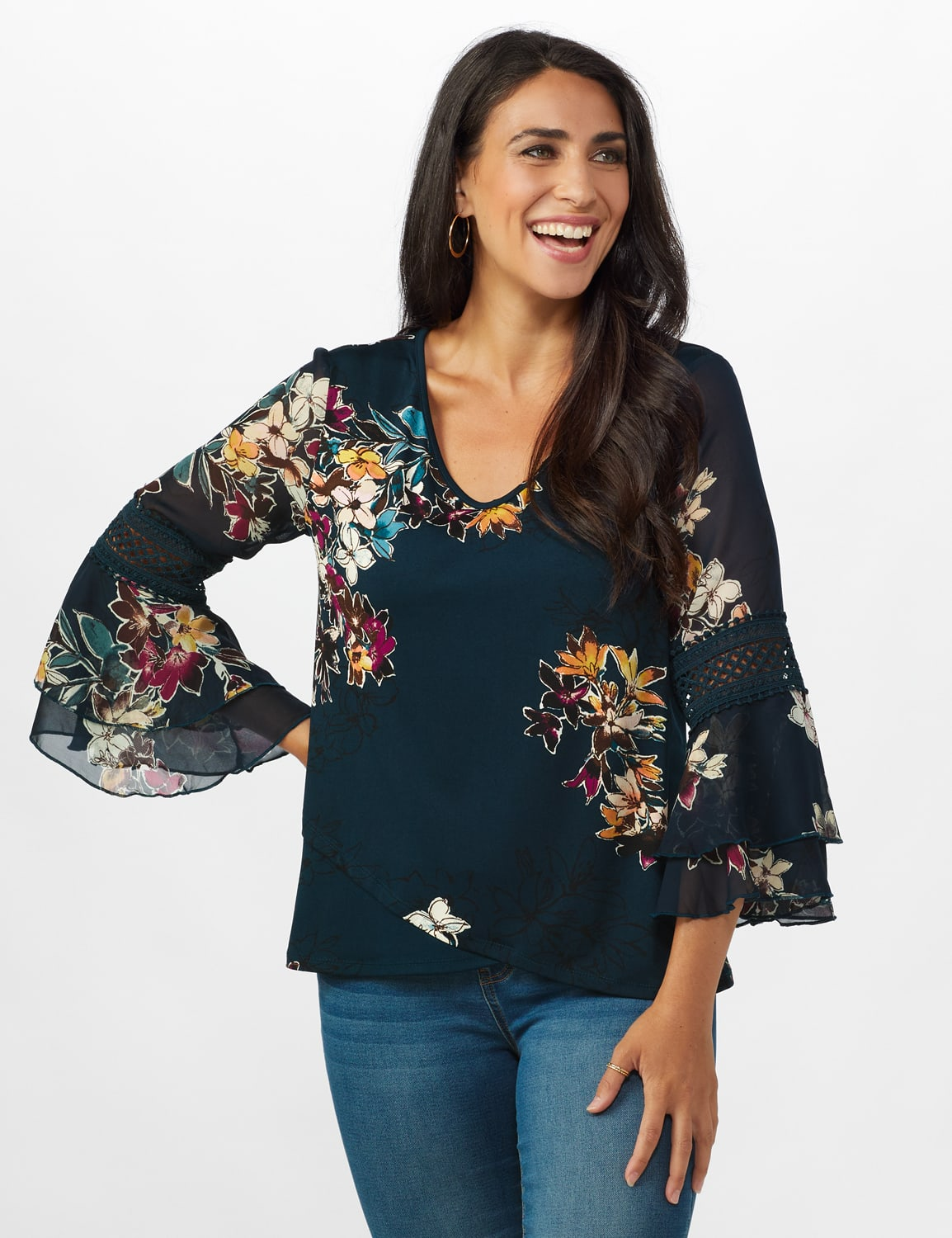 Crochet Trim V-Neck Floral Knit Top - Dark Teal/Magenta/Brown - Front