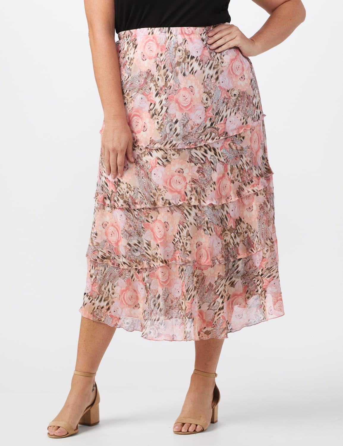 4 Tiered Elastic Waistband Skirt - Blush/taupe.black - Front
