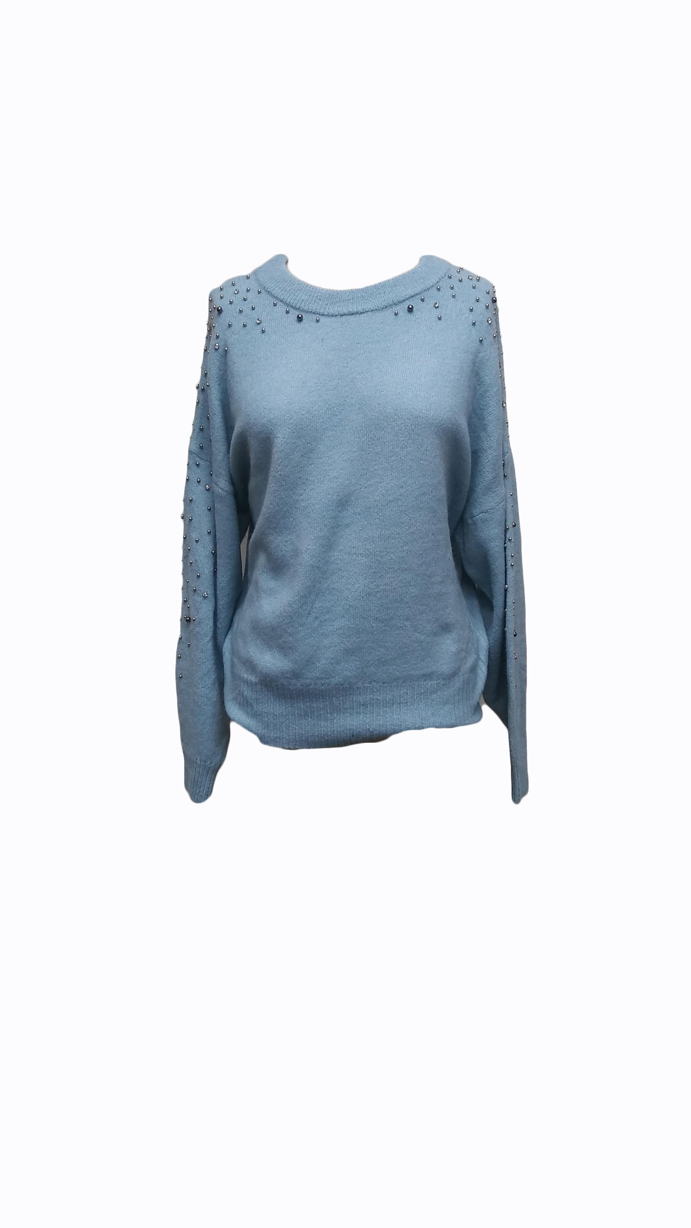 Sofi Studs Top - Blue - Front