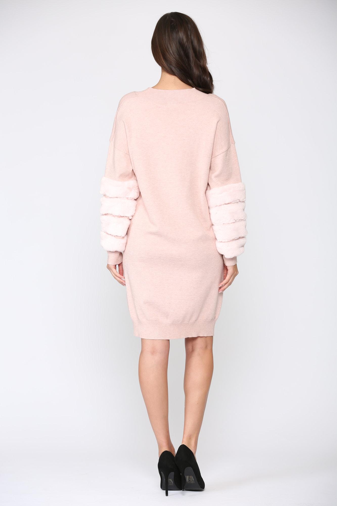 Sonia Fur Dress - Pink - Back