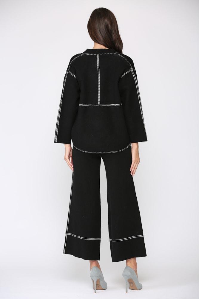 Stacia Ribbed Knitted Jacket - Black - Back