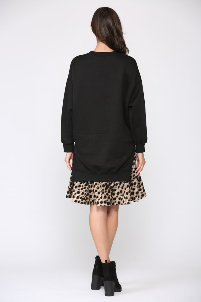 Fae Animal Print Dress - Black-Leopard - Back