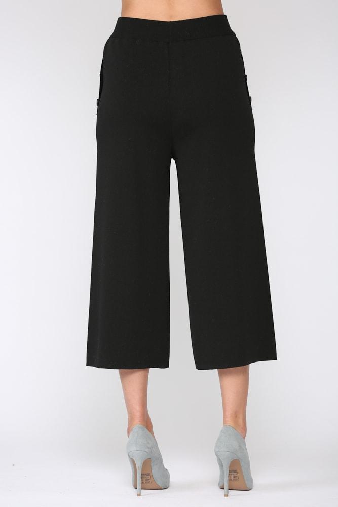 Sunia Rib-Knit Pant - Black - Back