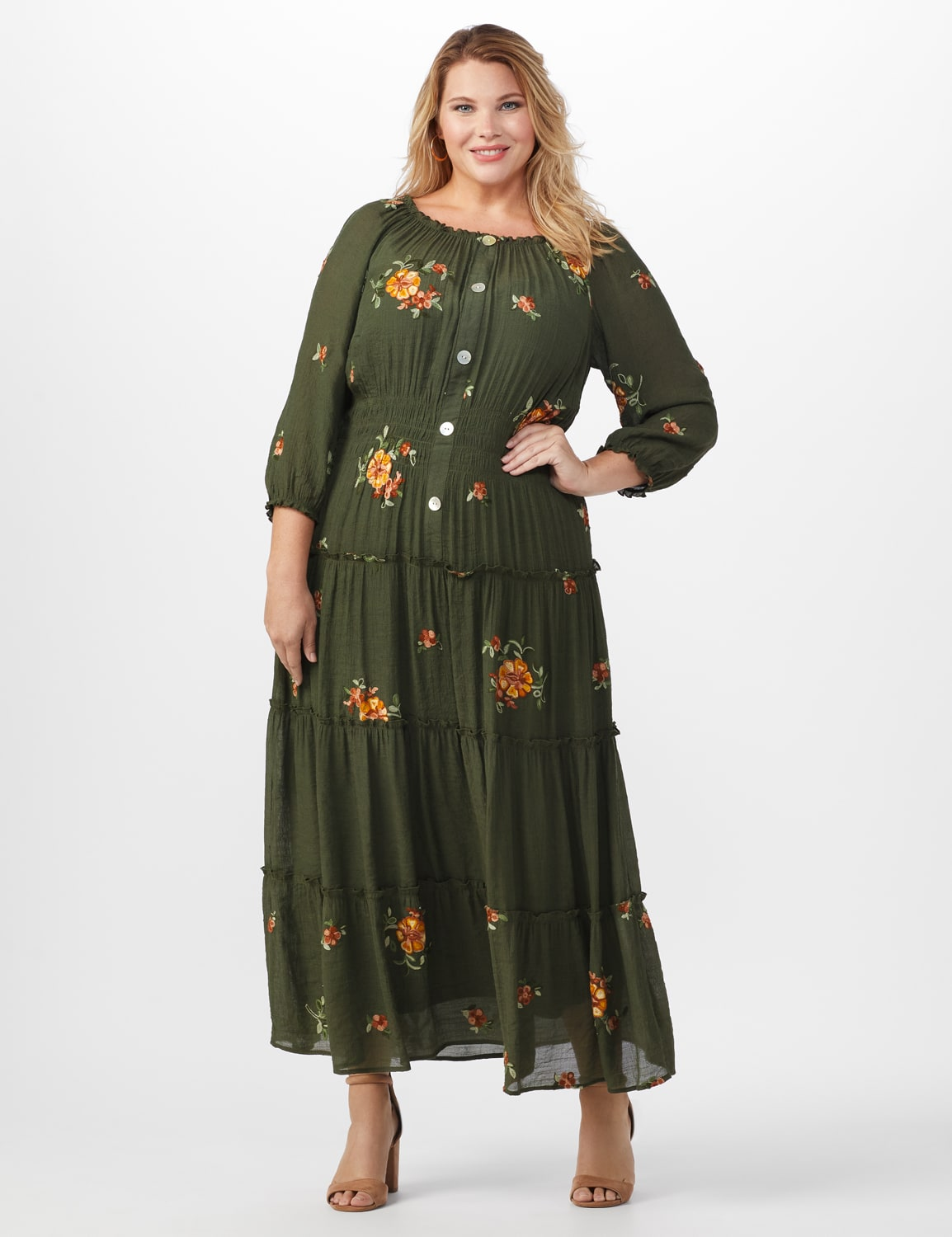 Embroidered Texture Peasant Dress-Plus - dark olive - Front