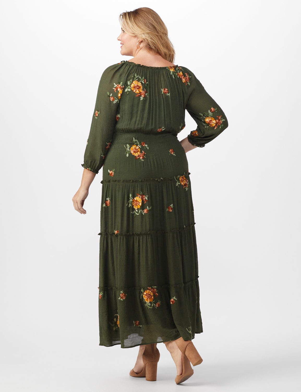 Embroidered Texture Peasant Dress-Plus - dark olive - Back