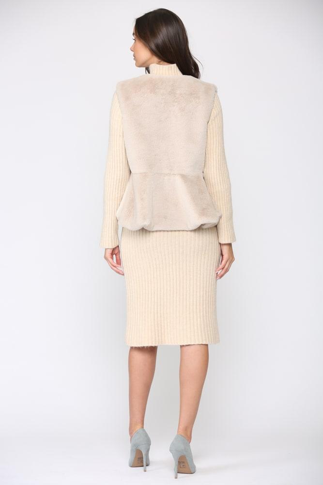 Jemma Fur Vest - Light beige - Back