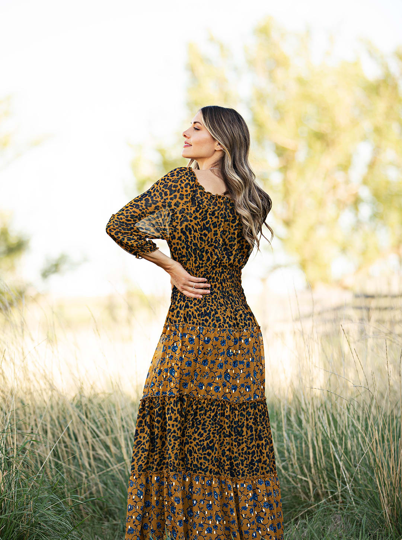 Petite Leopard Floral Peasant Dress - mustard - Back