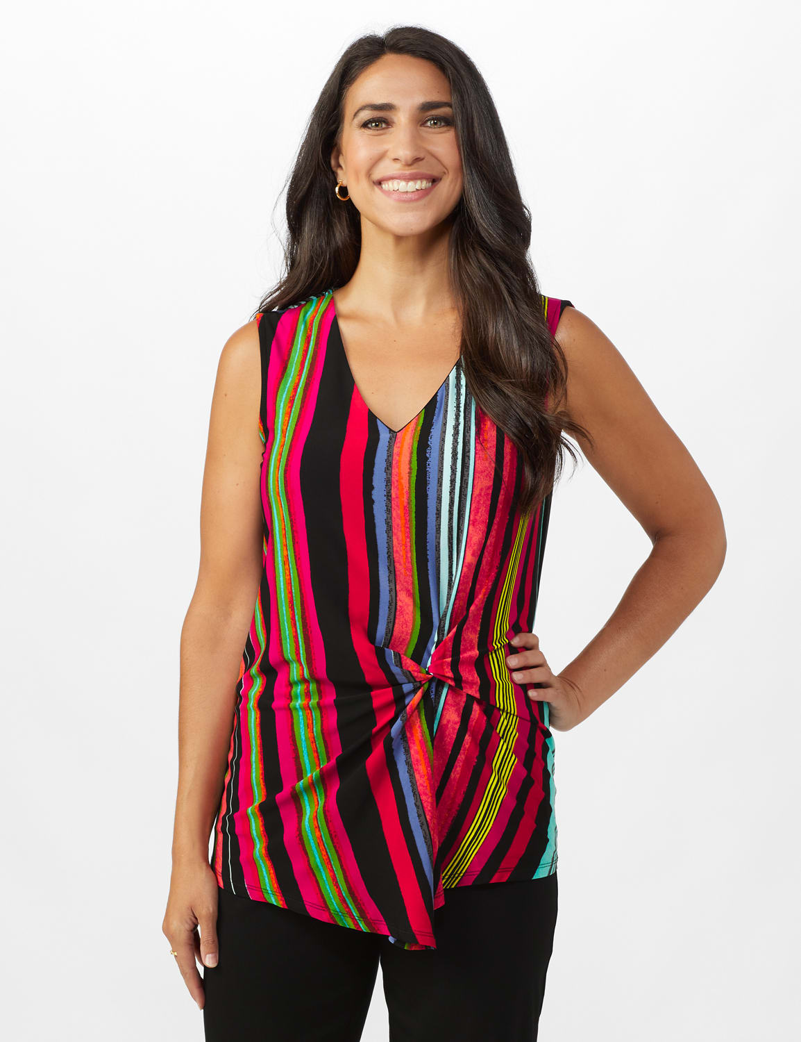 Multi Stripe Knot Front Knit Top - Multi - Front