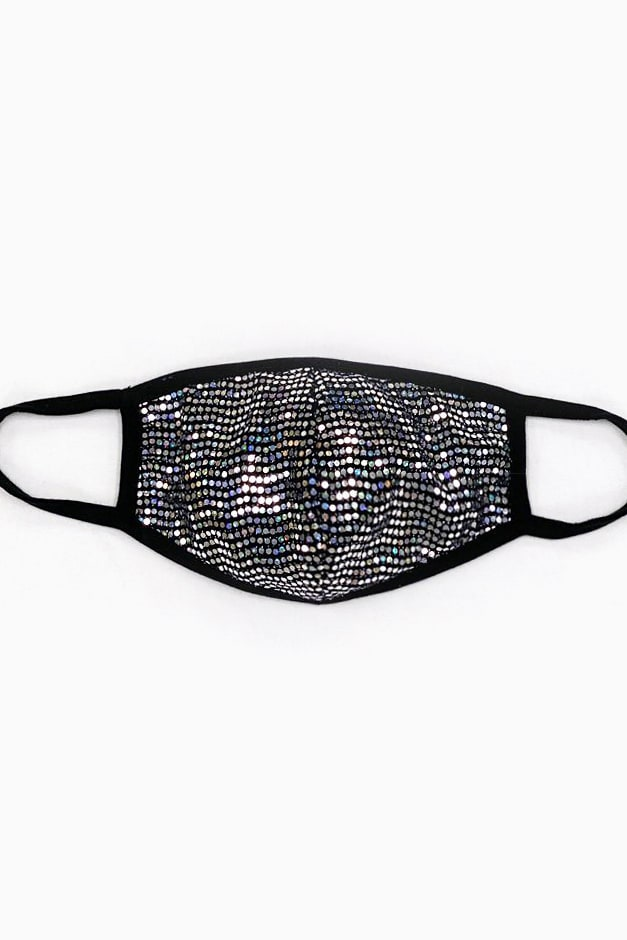 Silver Sequin Printed Fashion Face Mask - Silver - Front