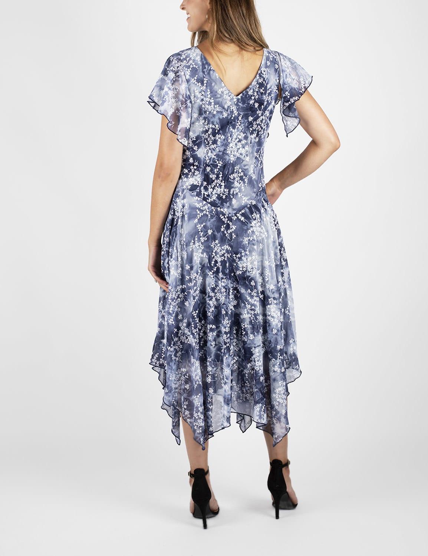 Tie Dye Hanky Hem Dress - Blue - Back