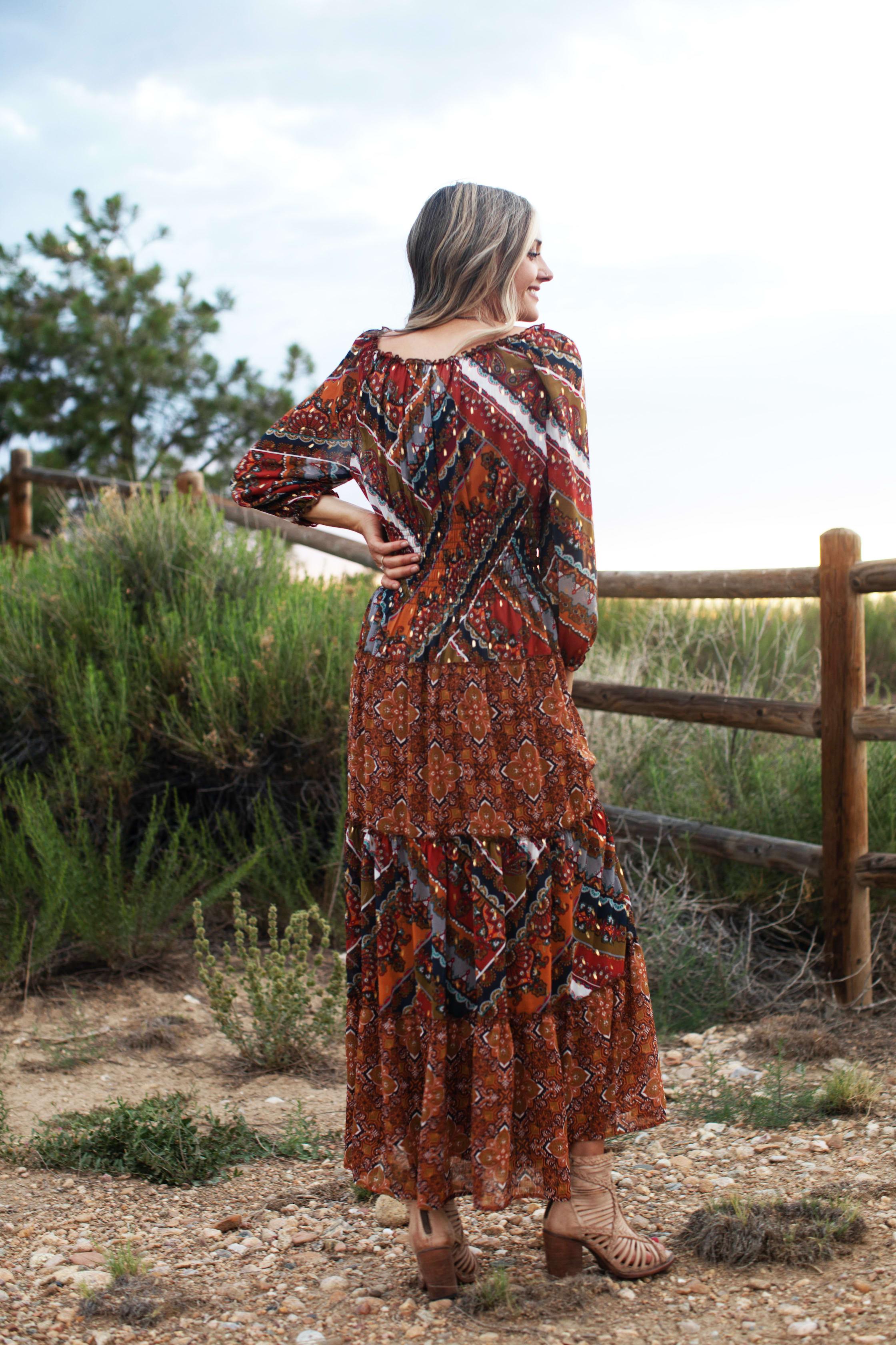 Mixed Media Veronica Dress - Copper - Back