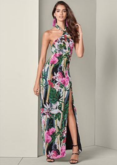 Tropical Halter Dress - Multi - Front