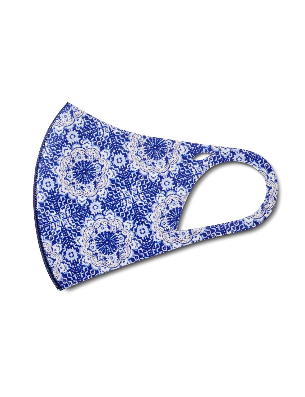 Denim Medallion Anti-Bacterial Fashion Face Mask - Blue - Detail