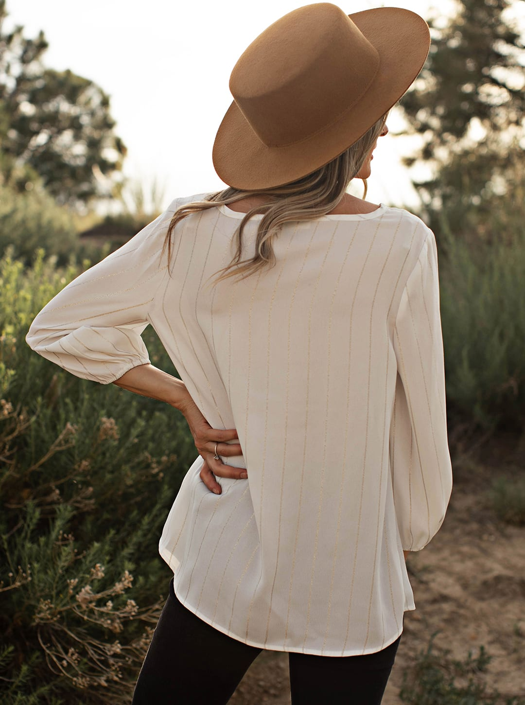 Lurex Stripe Side Knot Blouse - Ivory/Silver - Back