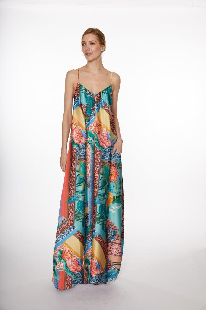 Bandana Print Maxi Dress - Misses - Multi - Front