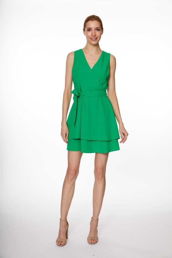 A-Line Wrap Mini Dress - Misses - Green - Front