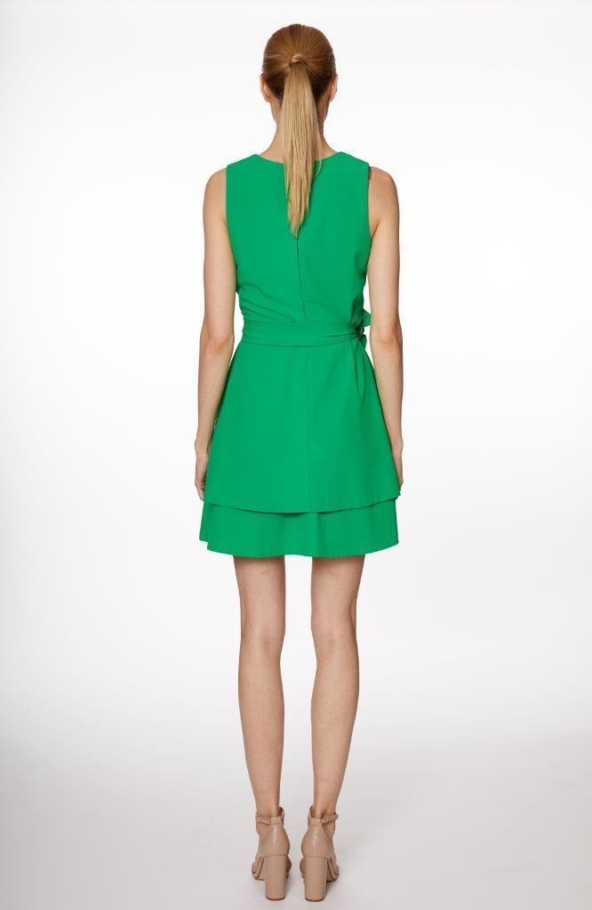A-Line Wrap Mini Dress - Misses - Green - Back