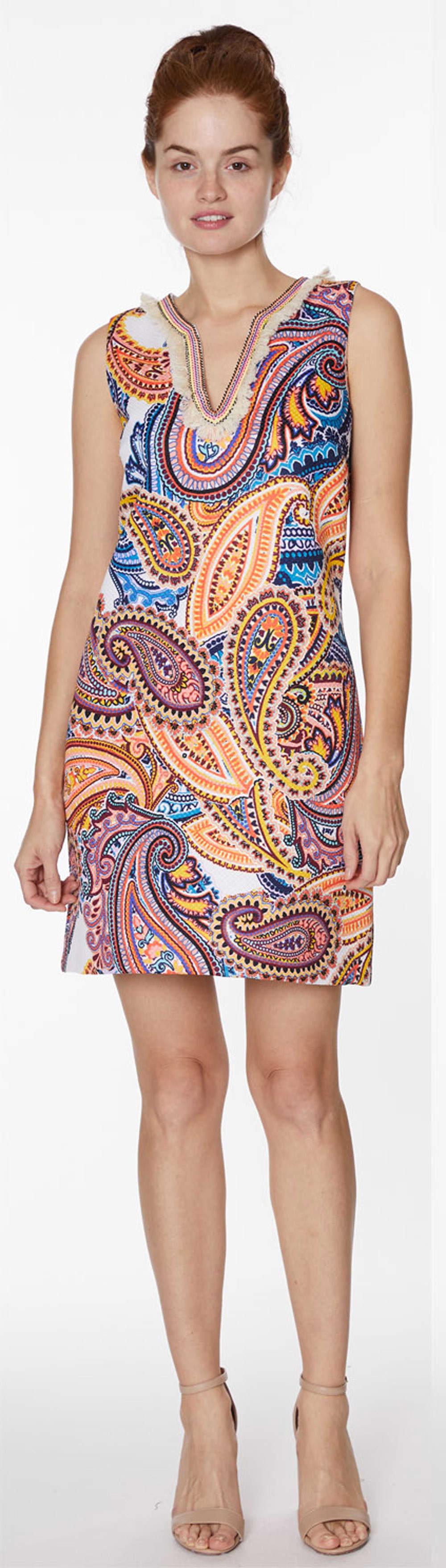 Embellished Paisley Shift Dress - Misses - Multi - Front