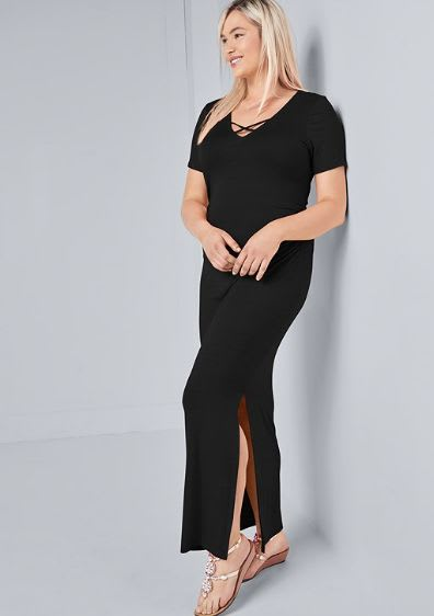 Rouched side Maxi dress with Criss-cross Detail - Plus - Black - Front