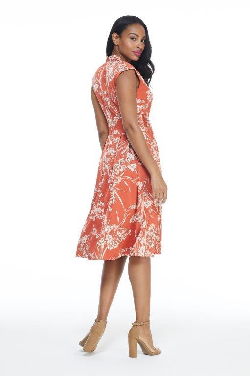 Ginger Floral Dress - Terracotta - Back