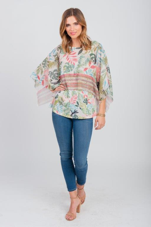 Palm Party Poncho Top - Misses - Green - Front