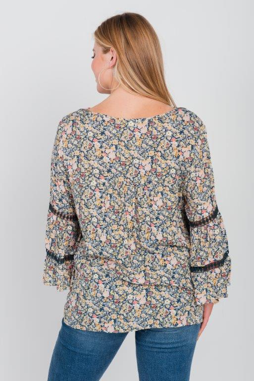 Floral Border Peasant Blouse - Plus - Lapis - Back