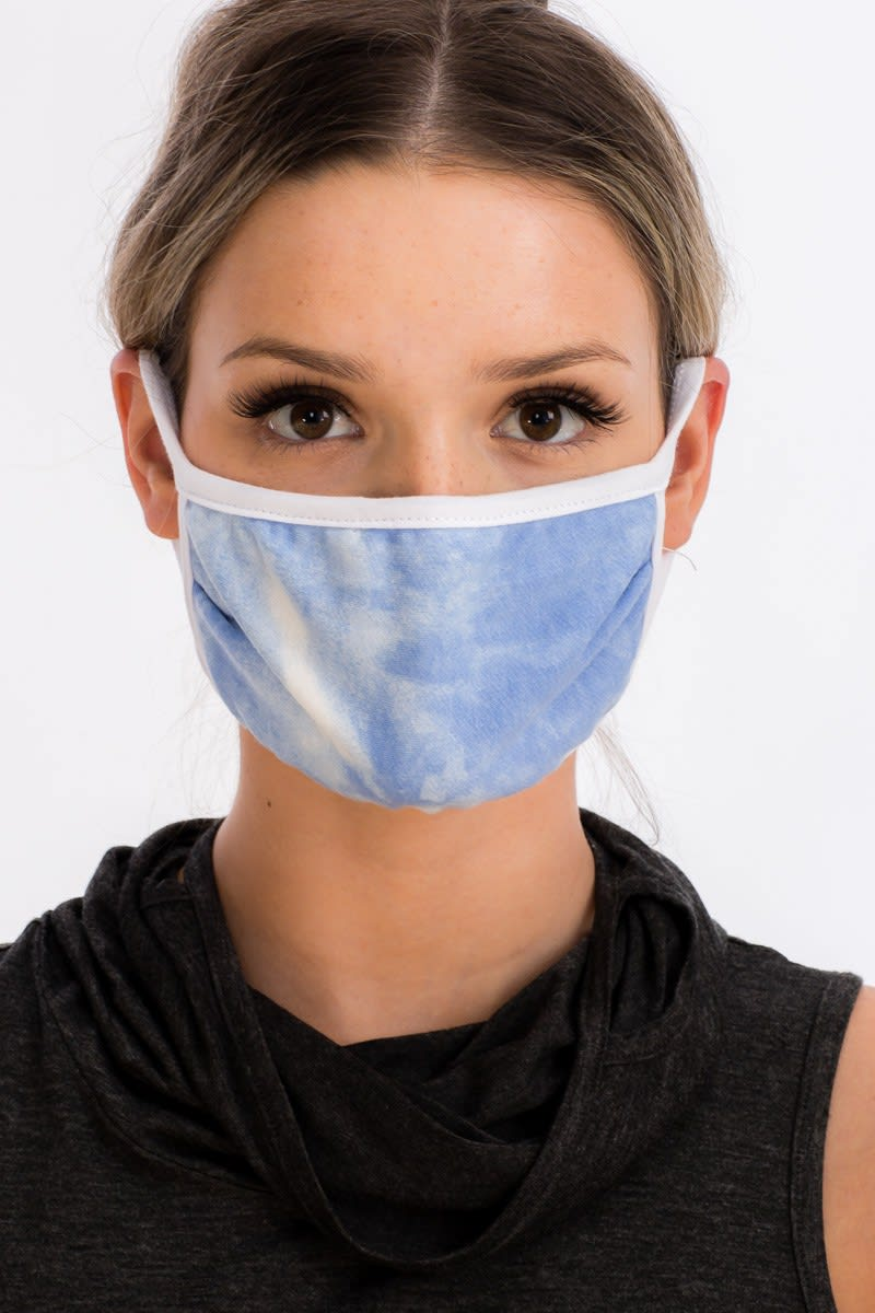 Sky Tie Dye Fashion Face Mask - Blue - Back