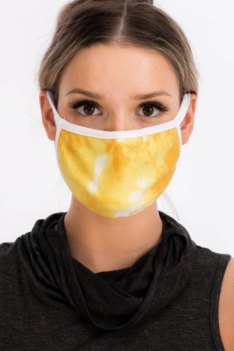 Sky Tie Dye Fashion Face Mask - Yellow - Back