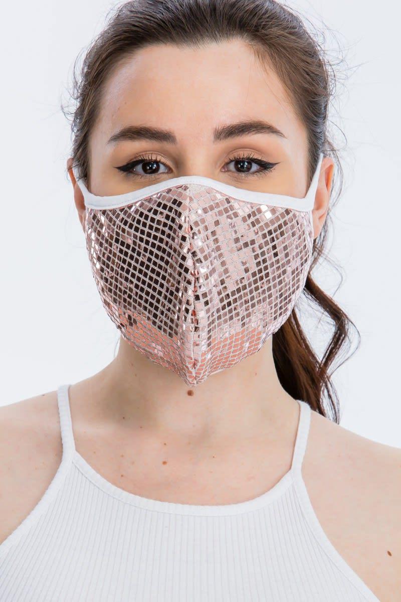 Disco Sequin Tile Fashion Face Mask - Light Pink - Back