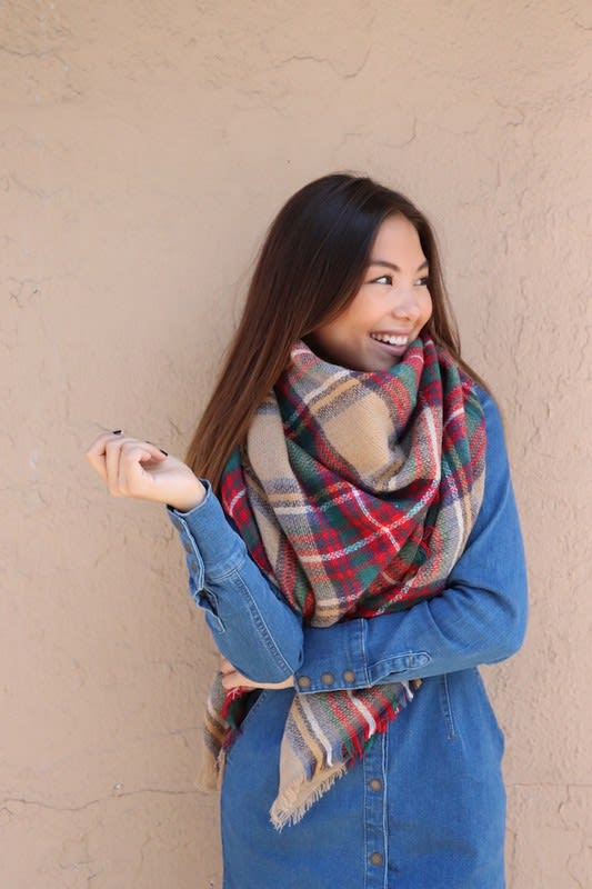 Lightweight Blanket Scarf - Red - Back