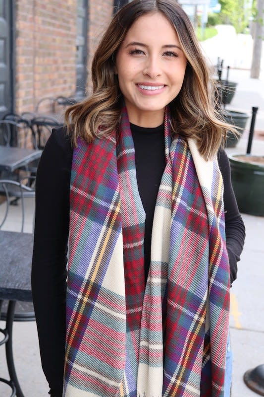 Classic and Youthful Plaid Scarf - Tan - Back