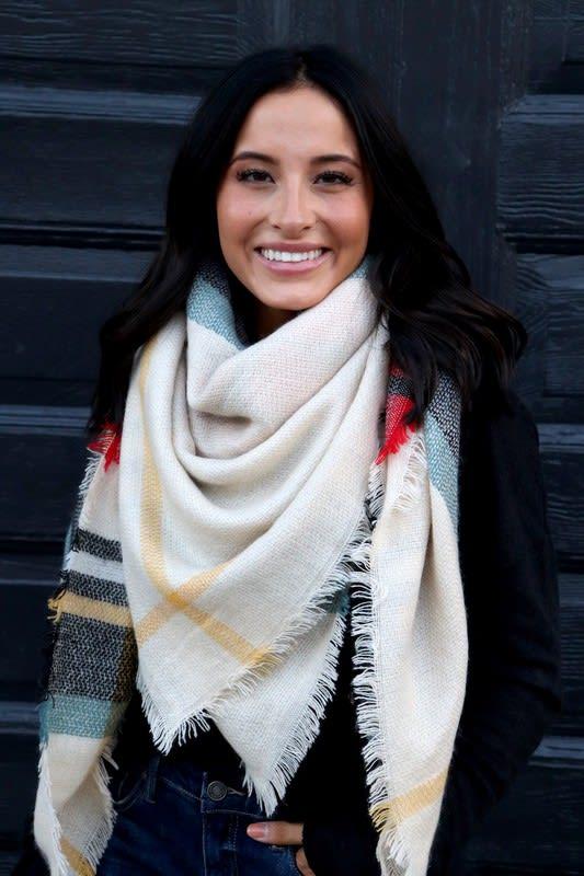 Warm Colors Blanket Scarf - Cream - Back