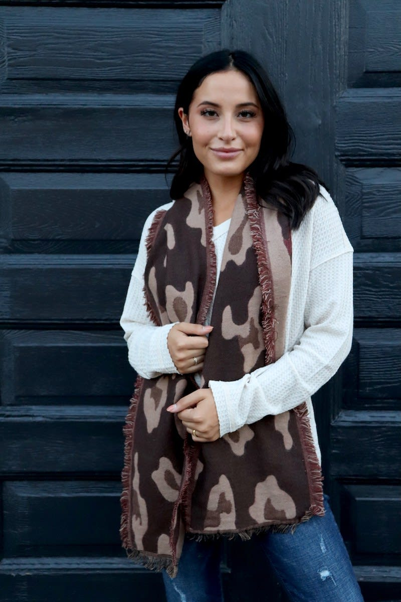 Brown Leopard Print Neck Scarf With Accents - Black  - Front