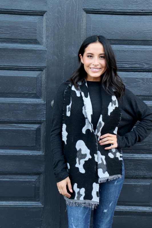 Black Leopard Print Neck Scarf with Accents - Black  - Back