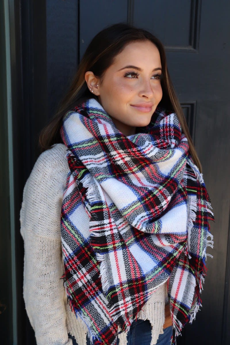 White & Red Blanket Scarf - White/Red - Front