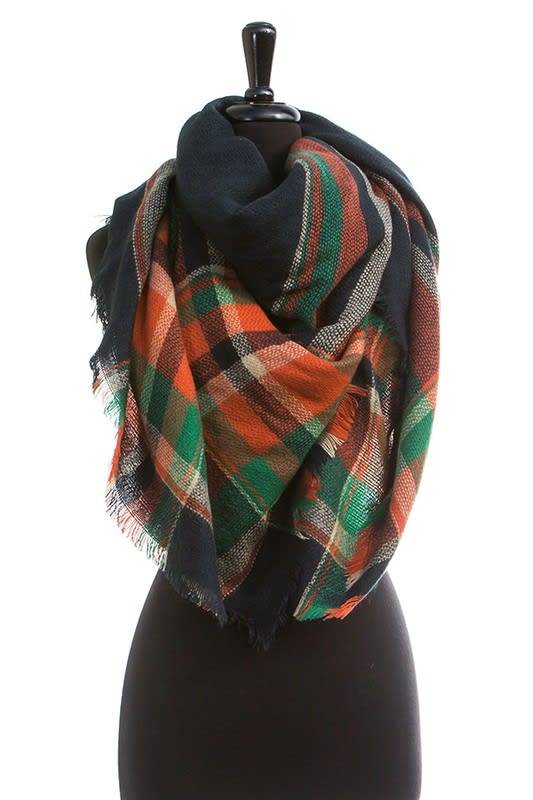 Colorful Blanket Scarf - Navy - Back
