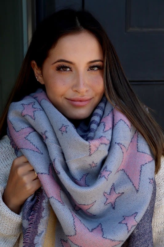 Star-Pattern Blanket Scarf - Grey - Back