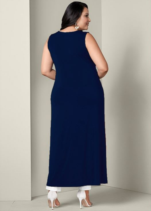 Front Slit Long Tank with Pockets - Plus - Navy - Back