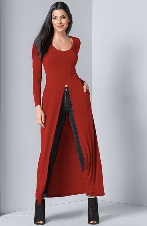 Front Slit Long Sleeve Shirt with Pockets - Red - Back