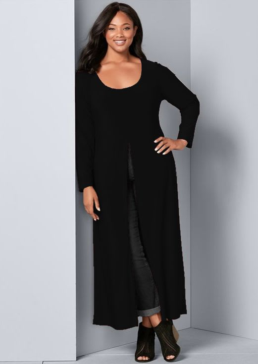 Front Slit Long Sleeve Shirt with Pockets - Plus - Black - Back
