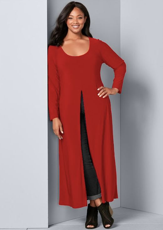 Front Slit Long Sleeve Shirt with Pockets - Plus - Red - Back