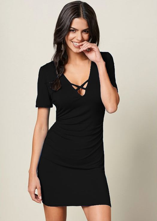 Rouched side Midi Dress with Criss-cross Detail - Black - Front