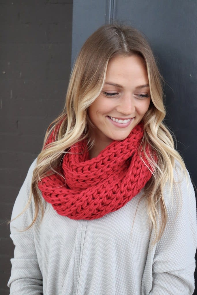 Red Knit Infinity Scarf - Red - Back