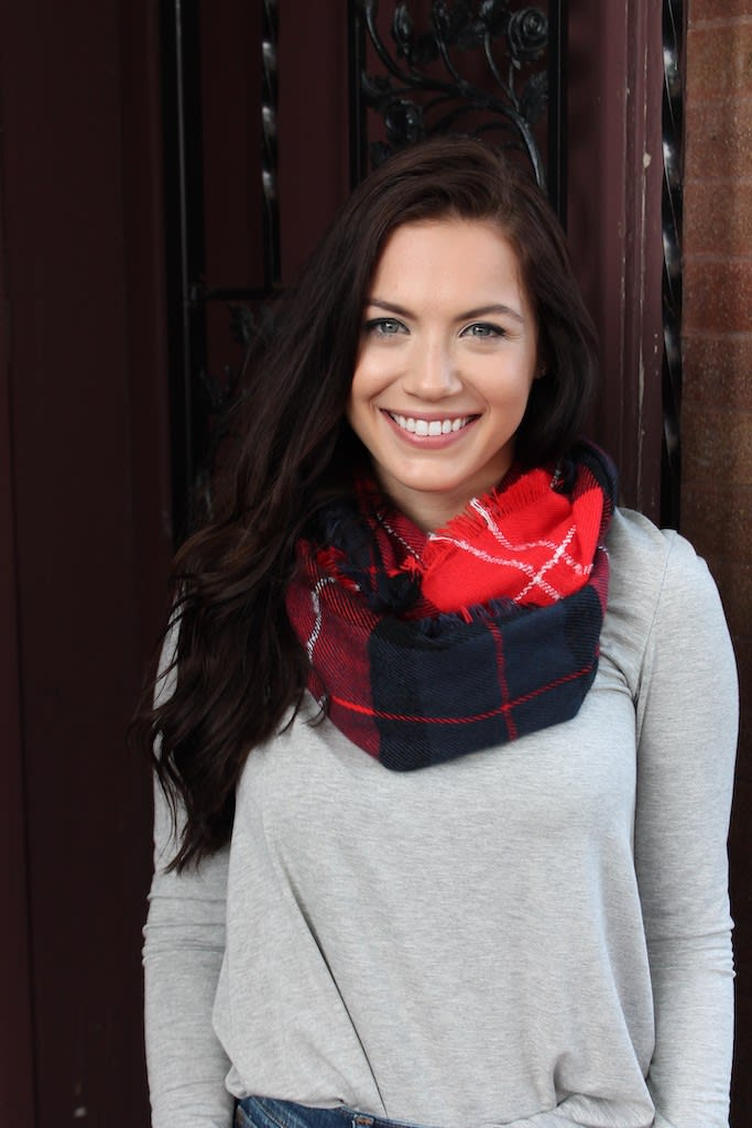 Staple Colorblock Plaid Print Infinity Scarf - Red - Front