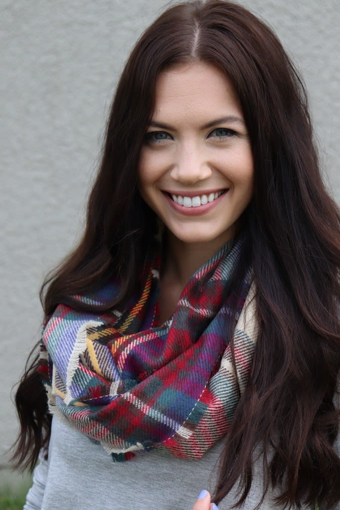 Vibrant Blend of Contrasts Infinity Scarf - Red - Back