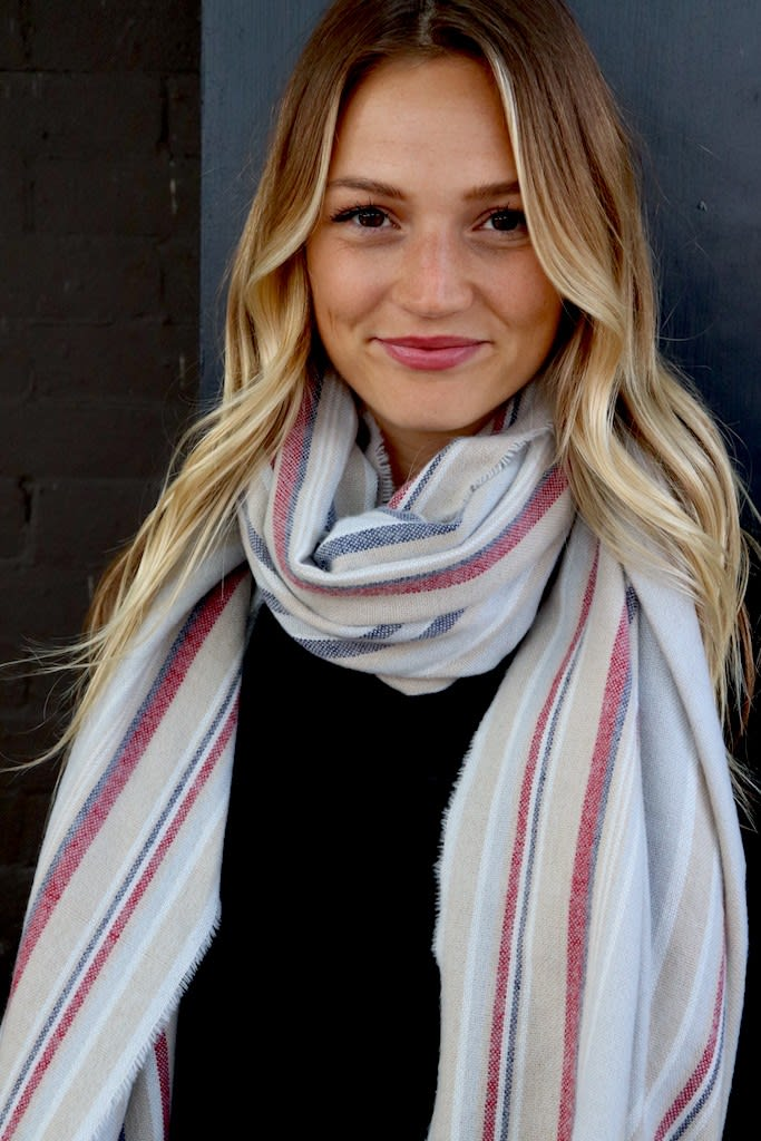 Mellow Infinity Neck Scarf with Embellishments - Grey - Front